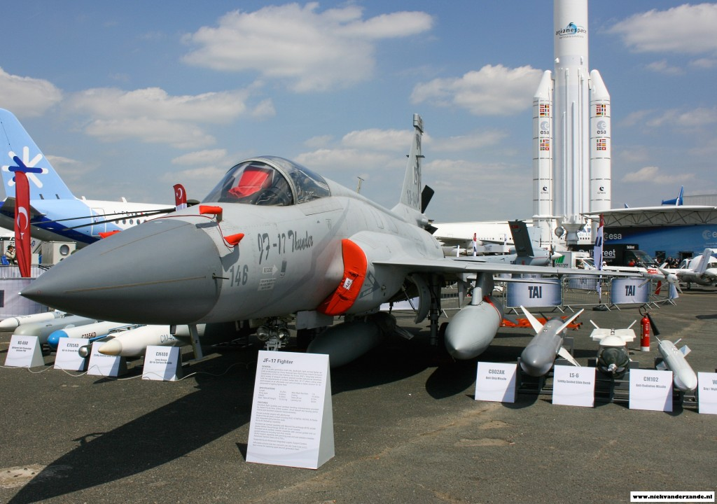 The  JF-17 in the static show  displaying the weapons it can carry.