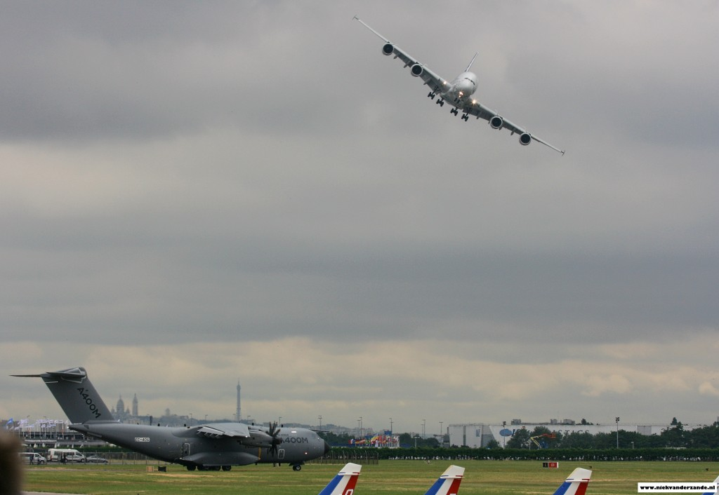 The Airbus A.400M waits at the beginning of the runway whilst the A.380 completes its display.