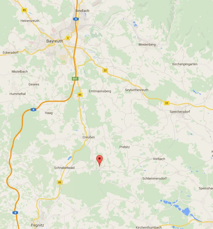 The crash location near Engelmannsreuth, Germany. (c) Google Maps