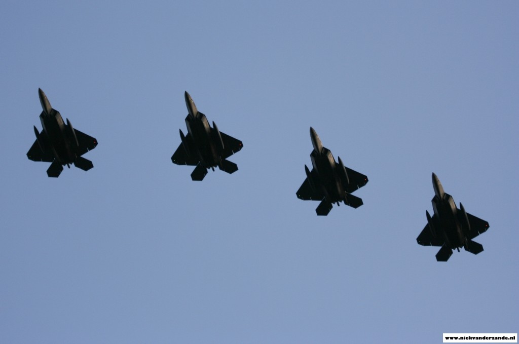 The F-22 Raptors show their distinctive shape upon arrival at Spangdahlem Airbase