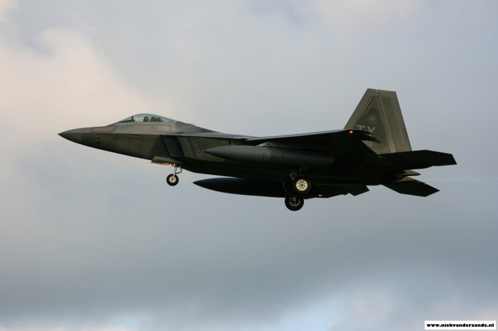 One of the four F-22 Raptors landing at Spangdahlem's Runway05.