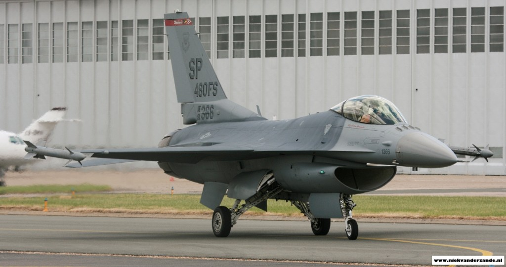 U.S. Air Force F-16C 91-0366/SP during the 2011 Paris Air Show at Le Bourget.