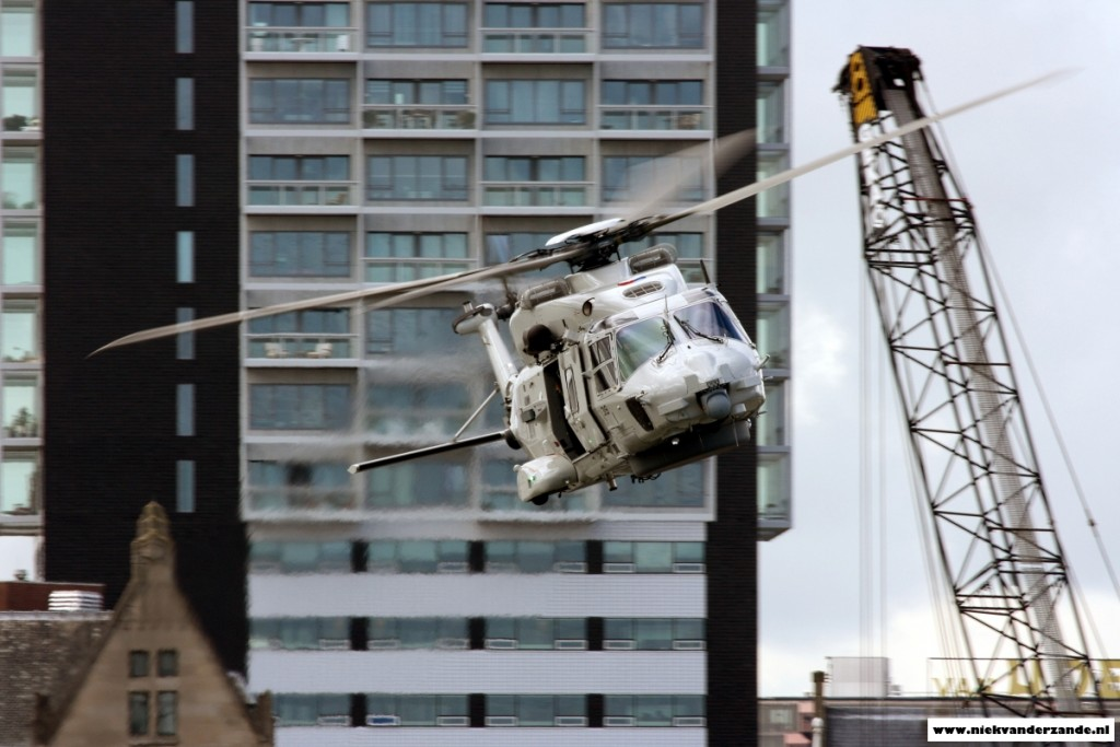 Several large buildings caused an unusual backdrop for this NH-90, which would normally operate over sea