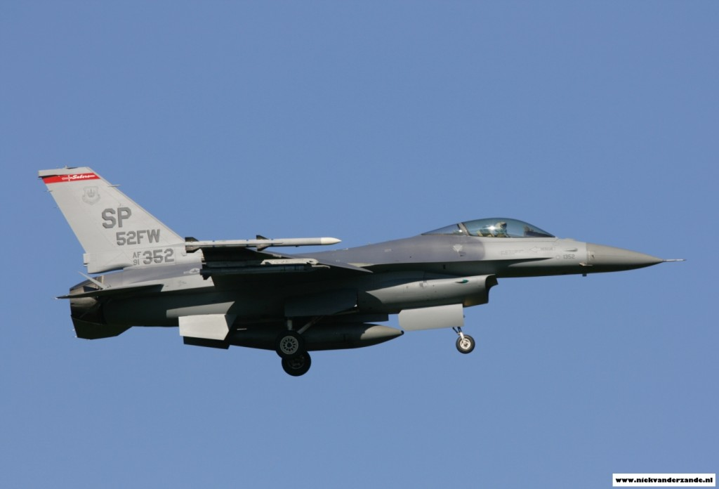 The 52nd Fighter Wing Commander's F-16C sporting special markings, lands at its homebase.
