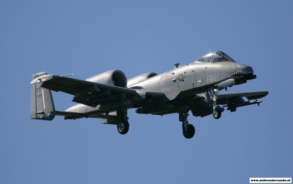 An A-10C belonging to the 75th Fighter Squadron comes in to land at Spangdahlem Airbase