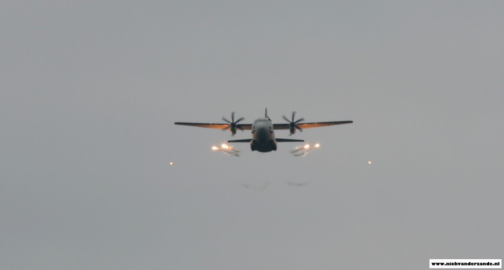 A C-27J Spartan from the Italian Air Force's RSV test unit was testing some new defensive systems.
