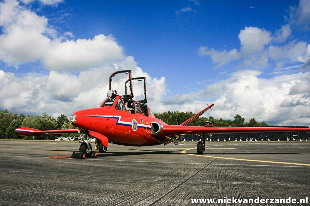 DHJAs Fouga Magister F-GLHF on the tarmac of Twente Airport
