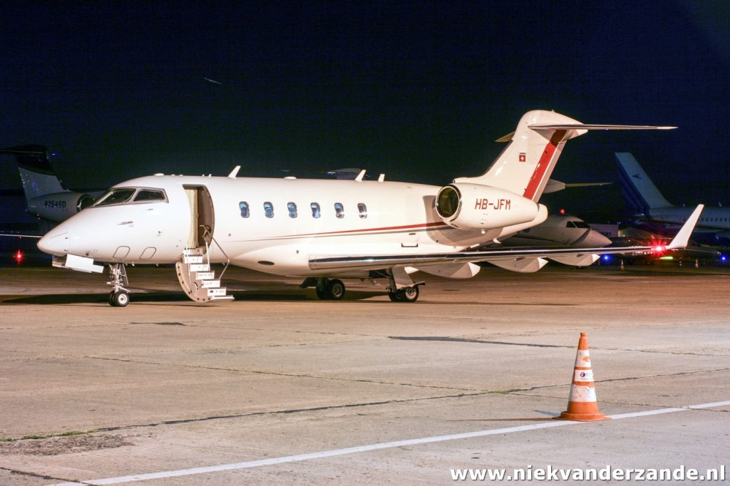A Swiss Challenger 300 on the platform of Le Bourget
