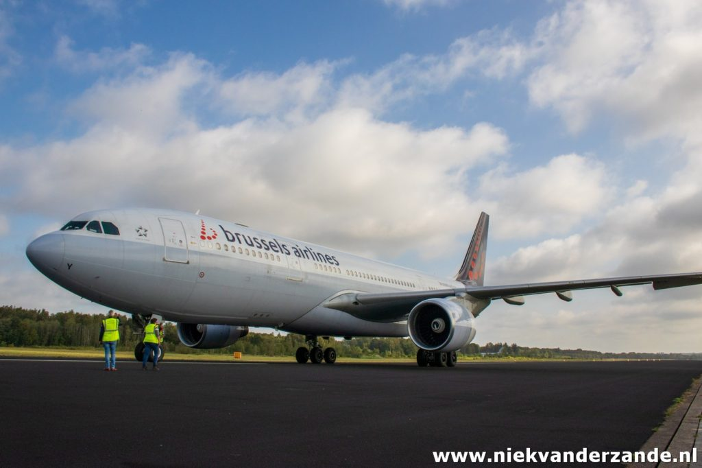 Brussels Airlines A330 OO-SFY after landing at Twente Airport