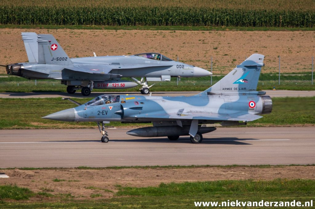Mirage and Hornet at Payerne during exercise Épervier 2019